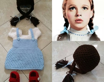 Crochet Dorothy Outfit (Beanie, dress and booties)