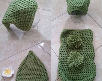 Crochet Sweet Pea Photography Prop (cap and cocoon)