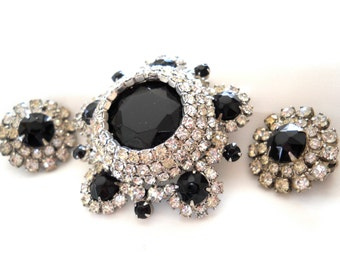 DeLizza & Elster Juliana Black and Clear Rhinestone Brooch and Earring Set Vintage