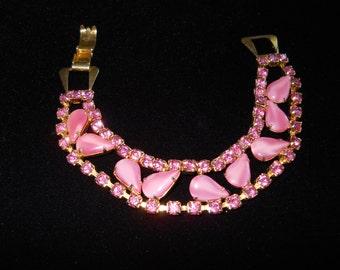 Pink Moonglow Stone & Rhinestone Bracelet Vintage