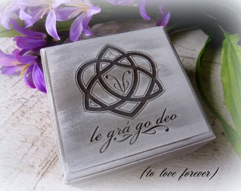 Ring Box, Wedding Ring Box, Personalized Ring Box, Ring Bearer, Le Gra Go Deo, Personalized Ring Box, Heart Wreath