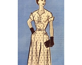 1950s Style Sweetheart Neck Day Dress with Wing Cuffs and Scalloped Pockets Custom Made in Your Size From a Vintage Pattern