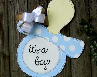 Its A Boy Door Hanger, Pacifier Door Hanger, Birth Announcement, Blue Pacifier, Baby Shower