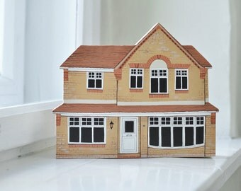 HOUSE PORTRAIT - miniature house - architectural model custom - wooden block - personalized - portrait of your house - hand painted house