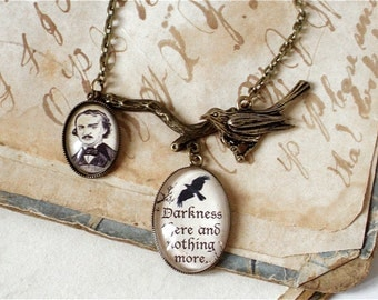 Edgar Allan Poe Necklace - The Raven Quote - Poe Jewelry in Bronze