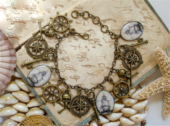 Pirate Charm Bracelet in Brass - Pirate Jewelry - Ship - Skeleton Key - Jolly Rodger / Skull and Crossbones