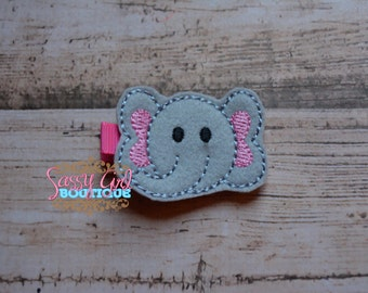 Zoo-Circus Felt Animal Hair Clips - Girls Hair Accessories - Boutique-Embroidered Felt Elephant Hair Clippie -No Slip Grip