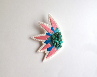 Embroidered abstract brooch starburst design with pink, blue and mint green and howlite crystal gems hand embroidered Spring,Summer fashion