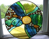 Stained Glass Panel|Stained Glass Art|Round Stained Glass Panel|Gold Agate|Agate|Abstract Stained Glass|OOAK|Handcrafted|Made in USA