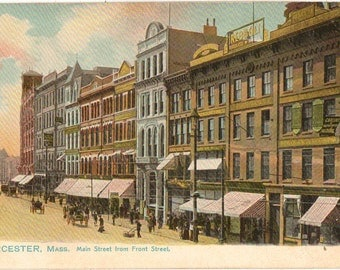 Vintage Postcard, Worcester, Massachusetts, Main Street from Front Street, ca 1910