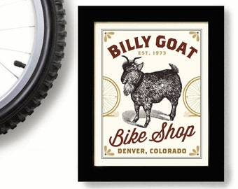 Mountain Bike Bicycle Art Billy Goat Denver Colorado Cycling Art Bicycle Enthusiast Bicyclist Bike Rider Cyclist Gift Bike Shop