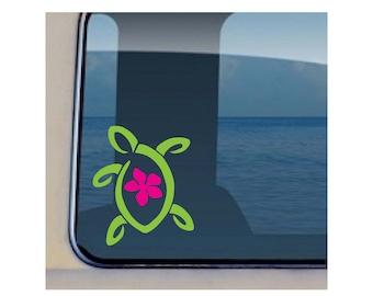 Turtle Plumeria Decal Sealife Sticker 161c