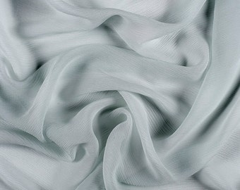"42"" Wide 100% Silk Crinkled Chiffon Pale Blue by the yard"