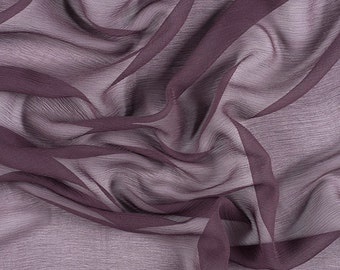 "42"" Wide 100% Silk Crinkled Chiffon Aubergine Purple by the yard"