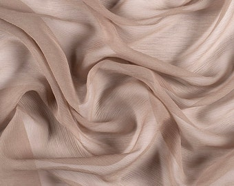 "42"" Wide 100% Silk Crinkled Chiffon Bronze by the yard"