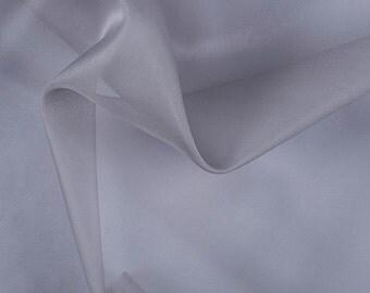 "45"" Wide 100% Silk Organza Silver Gray by the yard"