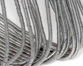 3x1mm Grey Hematite Gemstone Heishi Rondelle Slice 3x1mm Loose Beads 16 inch Full Strand (90185660-838)