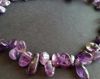 Special Offer 50% Off ---Raw Natural Amethyst Beads / Irregular Shape / Side Drilled (.hu gg) (LQUN)