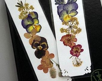 PRESSED FLOWER BOOKMARKS - Set of 2 Natural Pressed Flower Bookmarkers, Nature Lover Gardener Gift, Purple Yellow Pink Botanical Art