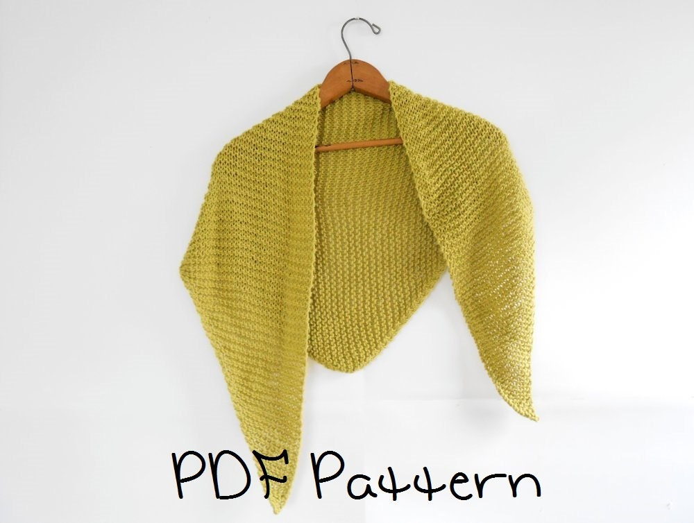 Shawl Knitting Pattern Easy Triangle Shawl Pattern Beginner From