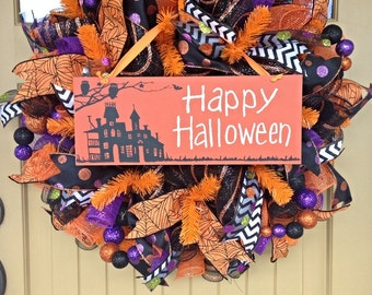 Halloween Wreath~ Happy Halloween Wreath~ Deco Mesh Wreath