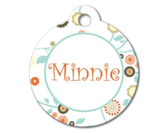 Whimsical Flower - Dog ID Tags, Cat ID Tags, Dog Tags for Dogs, Designer Pet Tags, Personalized Pet Tags, Custom Pet Tags - Pattern Pet Tags