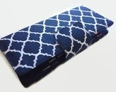 Womens Wallet, 38 Credit Card Holder, Loyalty Card Organizer, Money Pocket And Coin Pocket Blue Geometric
