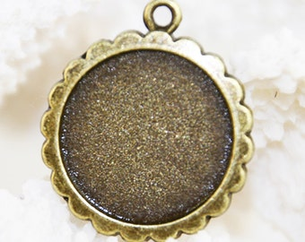 Round Vintage Tray Pendant Bronze 25mm (12 pcs) B74