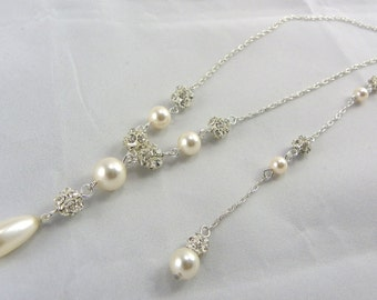 Backdrop Necklace Bridal Jewelry Set Swarovski Crystal Ivory Pearl Set Of Necklace And Earrings Weddings Jewelry, bridesmaid gift