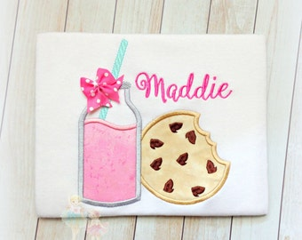 Cookies and Milk Applique Shirt- Custom Embroidered-Strawberry Milk and Chocolate Chip Cookie Applique- Birthday- Monogrammed