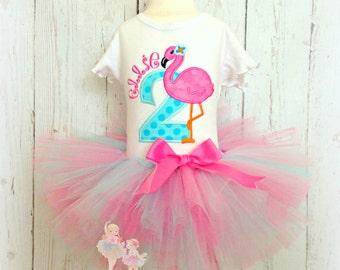 Flamingo Birthday Outfit - Flamingo Tutu outfit - 1st Birthday Outfit - Girls Birthday Outfit - Flamingo party - Flamingo embroidery