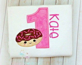 Birthday Donut Shirt, 1st Birthday Shirt, Chocolate Donut Applique with pink sprinkles, Custom Embroidery