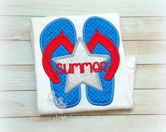 4th of July flip flops shirt - patriotic flip flops shirt - personalized patriotic summer shirt - girls 4th of July shirt - star flip flops