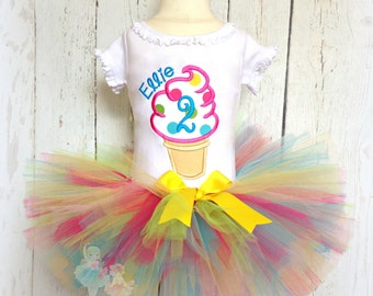 Ice cream birthday outfit - ice cream themed tutu outfit - 1st birthday ice cream outfit - personalized ice cream cone outfit for girls