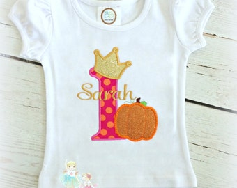 Princess Pumpkin Birthday Shirt- Halloween- Fall- Thanksgiving- First Birthday-1st Halloween