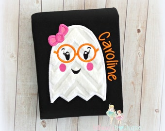Girls Halloween ghost shirt - ghost with glasses shirt - cute girl ghost shirt - 1st Halloween shirt for girls- personalized Halloween shirt