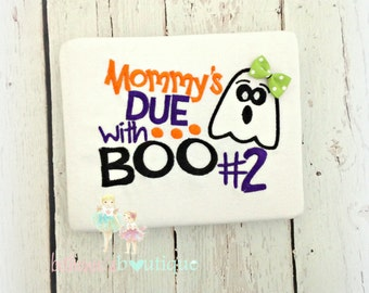 """Halloween sibling shirt - pregnancy announcement shirt for Halloween - """"Mommy's due with boo #2"""" - custom Halloween baby announcement"""