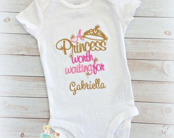 Newborn bodysuit - Baby girl coming home outfit - a princess worth waiting for - custom baby girl newborn bodysuit - personalized bodysuit