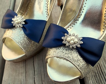 Bridal Shoe Clips, Wedding Shoe Clips, MANY COLORS AVAILABLE, Navy Blue Shoe Clips, Satin Bow Shoe CLips, Clips for Wedding Shoes, Bridal