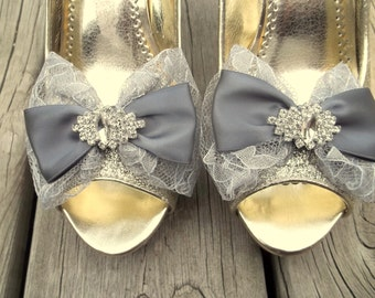 Wedding  Lace Shoe Clips, Bridal Lace and Satin Shoe Clips, Rhinestone SHoe CLips, Bridal Shoe CLips, Wedding Shoe Clips for Wedding SHOes