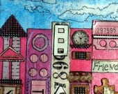 Friend Gift Mixed media collage with easel called City, tall buildings, doors, windows in blue, black and shades of pink,