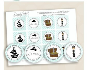 Pirate cupcake toppers. Birthday Party Printable PDF files. SILVER Pirate collection in silver,black and aqua