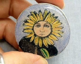 Sunflower Lady Handmade Polymer Clay Cabochon Rubber Stamped Resin Art