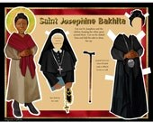 St Josephine Bakhita African Italian Catholic saint digital download DIY print and cut paper doll set
