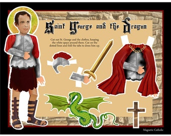 Saint George and the Dragon Catholic paper doll digital download DIY craft project