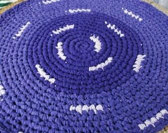 purple handmade circle rug