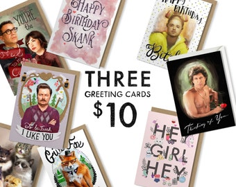 3 Greeting Cards for 10 Dollars - Birthday Card - Drunk Girl Designs - Funny Greeting Card - Valentine's Day Card - Pick 3 - I Love You Card