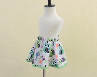 Twirl skirt 18mth, 24mth, 2t owl twirl skirt, toddler girl clothes, toddler skirt, owl  birthday skirt