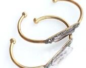 Raw Crystal Pyrite Cuff - Clear Quartz Crystal Cuff Stacking Bracelet