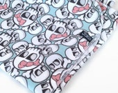 Handmade XL Flannel Receiving blanket / Swaddle blanket - Skulls with pink bows on aqua